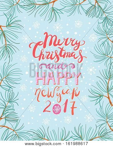 Cute christmas and new year card with pine branch frame jn blue background. Bright red happy new year and merry christmas decorative lettering.