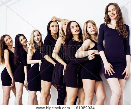 Many diverse women in line, wearing fancy little black dresses, party makeup, vice squad concept lifestyle poster