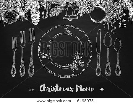Hand drawn illustration of curly ornamental silver tableware plate a black chalkboard background. Vector frame with hand drawn elements: branches of fir cones streamers bell bow Christmas ball. Vector Illustration