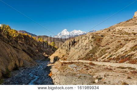 Arid mountain valley. Muktinath region in Nepal.