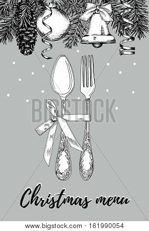 Hand drawn illustration of curly ornamental silver tableware plate a grey background. Vector frame with hand drawn elements: branches of fir cones streamers bell bow Christmas ball. Vector Illustration