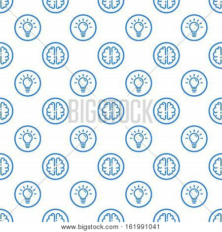 Vector illustration of seamless pattern with blue icons in flat line style. Linear brain and bulb. Use in web project applications, posters and banners. Outline isolated object.
