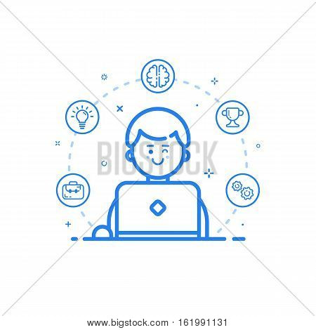 Vector illustration of blue icon in flat line style. Linear cute and happy man with laptop. Graphic design concept of art Director use in Web Project and Applications Outline isolated object.