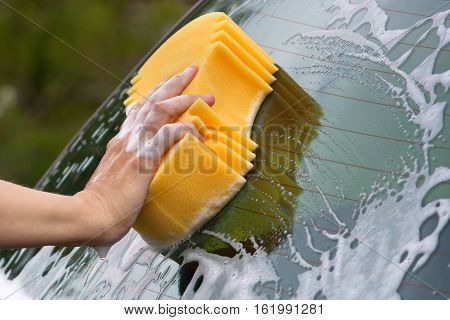 hand washing the rear window of car with sponge
