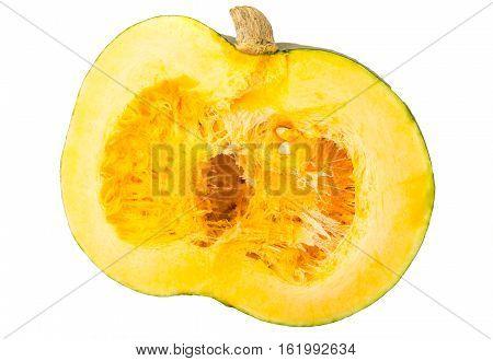 Gray pumpkin cut in half, pulp and seeds. Studio Photo