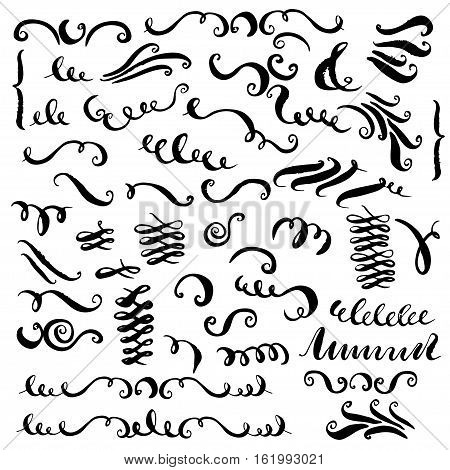 Set of vector hand drawn decorative elements. Curves brush strokes curles swashes flourishes for text and page design.