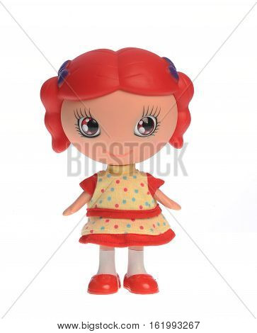 Toy, cute doll isolated on white background