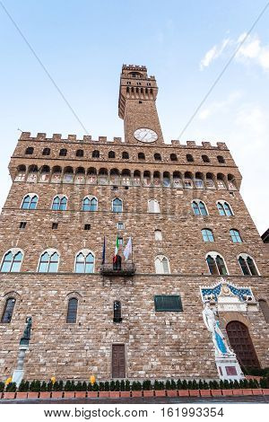 Facade Of Palazzo Vecchio (old Palace) In Morning