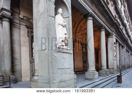 Statue Andrea Orcagna On Arcade Of Uffizi Gallery