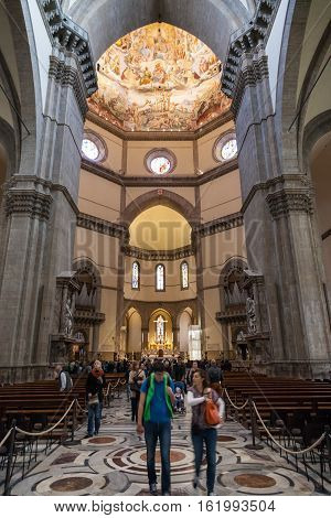 Tourists In Nave Of Duomo Cathedral In Florence