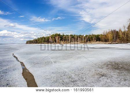 Spring landscape on the Siberian river. The river Ob Novosibirsk oblast Siberia Russia