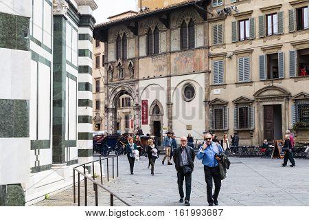 Tourists Near Loggia Del Bigallo In Florence
