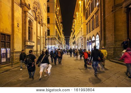 People Near Orsanmichele Church In Night