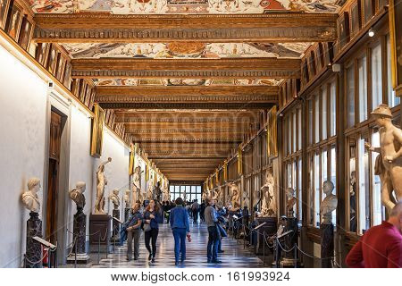 Visitors In Eastern Corridor Of Uffizi Gallery