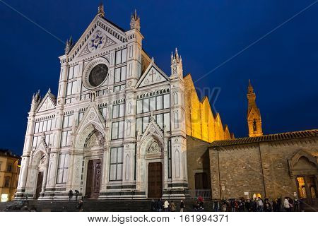 Facade Of Basilica Di Santa Croce In Rainy Night