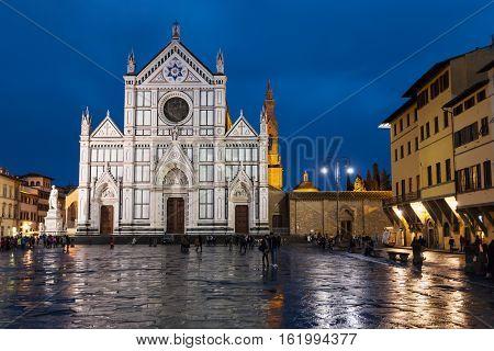 Piazza Di Santa Croce With Basilica In Rainy Night