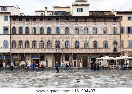 People Near Palace On Piazza Di Santa Croce