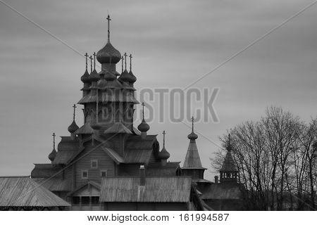 Skeet All Saints. Wooden church in the area Sviatohirsk. Ukraine Donetsk region