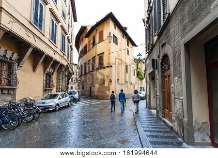 People On Street Via Dell Anguillara In Florence