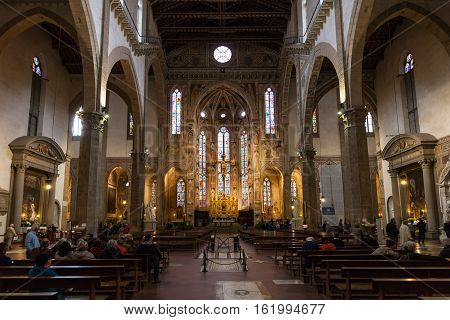 People In Nave Of Basilica Di Santa Croce