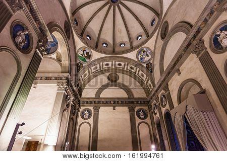 Interior Pazzi Chapel In Basilica Di Santa Croce