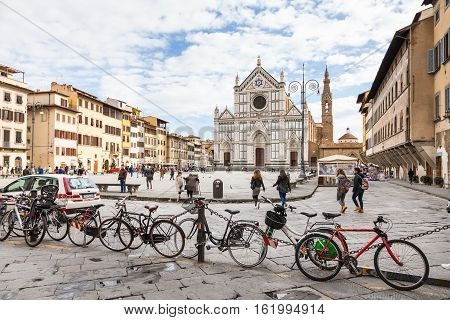 Bicycle Parking And People On Piazza Santa Croce
