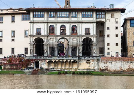 View Of Uffizi Gallery From Arno River In Florence