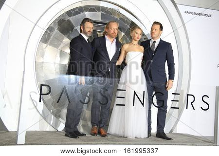 LOS ANGELES - DEC 14:  Michael Sheen, Morten Tyldum, Jennifer Lawrence, Chris Pratt at the