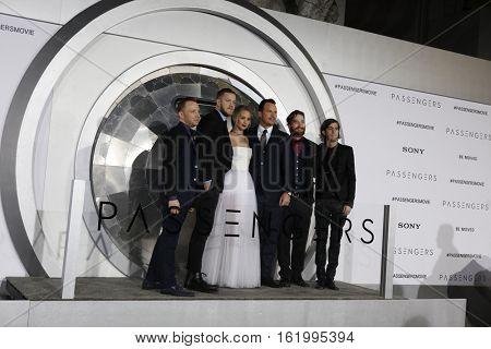 LOS ANGELES - DEC 14:  Imagine Dragons, Jennifer Lawrence, Chris Pratt at the