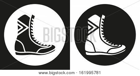 Boxing boots icon. Silhouette boxing shoes on a black and white background. Sports Equipment. Vector Illustration
