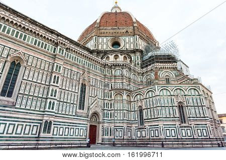 travel to Italy - view of Florence Duomo Cathedral (Cattedrale Santa Maria del Fiore Duomo di Firenze Cathedral of Saint Mary of the Flowers) from Piazza del Duomo in Florence city in morning poster