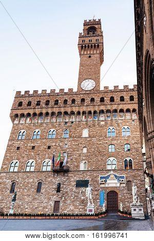 Palazzo Vecchio From Piazza Signoria In Morning