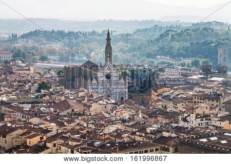 View Of Florence City With Basilica Di Santa Croce
