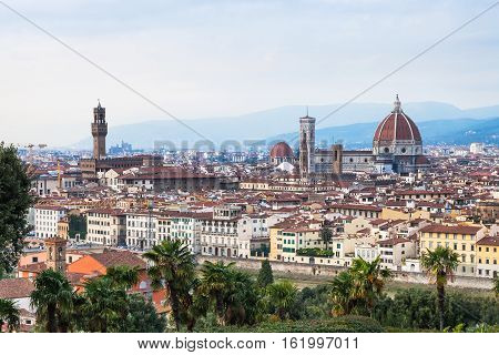 Above Cityscape Of Florence City