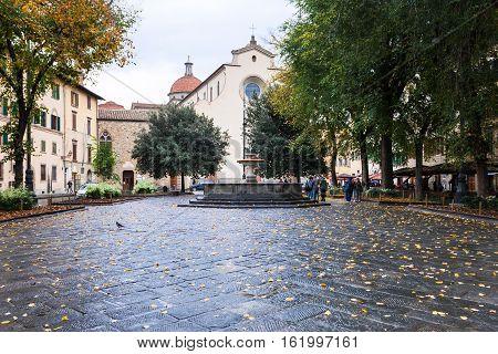 Piazza Santo Spirito With Basilica In Autumn
