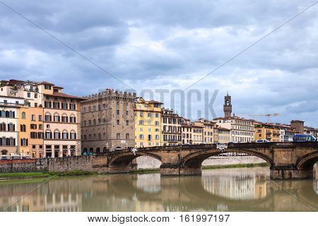 Ponte Santa Trinita Over Arno River In Autumn