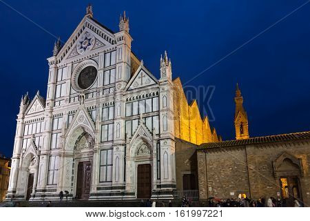 Basilica Santa Croce On Piazza In Night