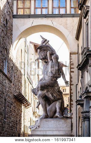 Statue Rape Of Polyxena On Piazza Della Signoria