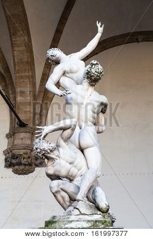 Statue The Rape Of The Sabine Women On Piazza