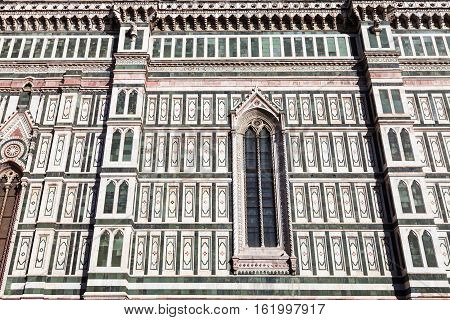 View Of Ornamental Wall Of Florence Duomo