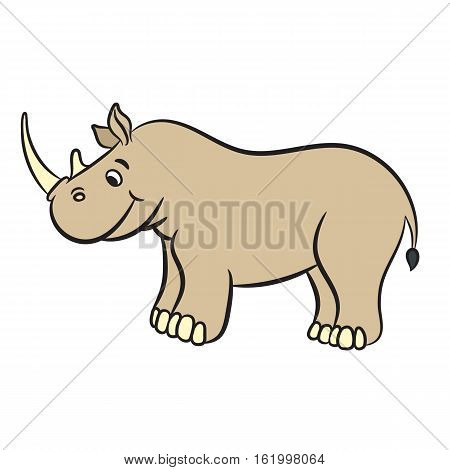 Cartoon rhino. Vector illustration on white background
