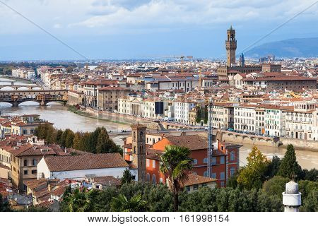 Skyline Of Florence Town With Bridge And Palace