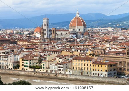 Skyline Of Florence City With Cathedral