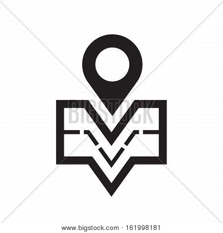 Geo location - vector icon concept illustration. Navigation creative sign. Map place symbol. Design element. Black pictogram isolated on white background.