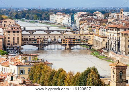 Above View Of Ponte Vecchio In Florence City