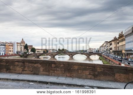View Of Bridges And Quay In Florence In Autumn