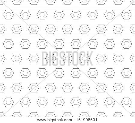 Vector seamless pattern, black linear hexagons on white backdrop. Subtle monochrome geometric texture, thin lines. Modern minimalist background. Design for prints, decoration, digital, web, textile