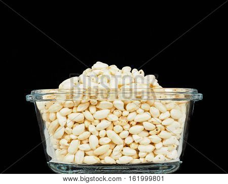 Puffed Rice In Translucent Square Glass Bowl, Towards Black