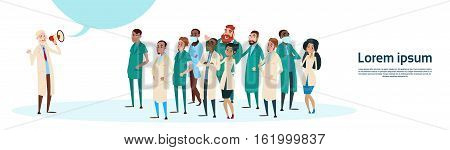 Medical Doctor Hold Megaphone Loudspeaker Group Team White Chat Bubble Copy Space Vector Illustration