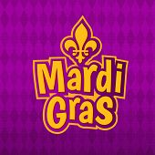 Mardi Gras gold glitter text with French lily Fleur de Lis on harlequin purple pattern background. Masquerade carnival lettering. American New Orleans Louisiana Fat Tuesday or Australian Mardi Gras poster